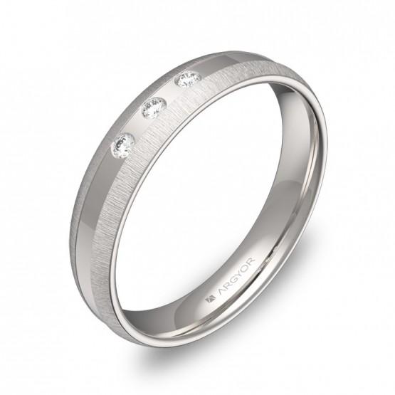 Alianza de boda 4mm de oro blanco combinado 3 diamantes C2240C3BB