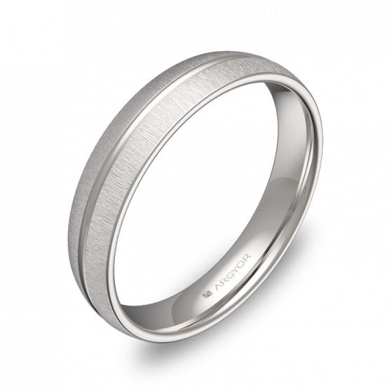 Alianza de boda con ranuras 4mm en oro blanco textura C2140T00B