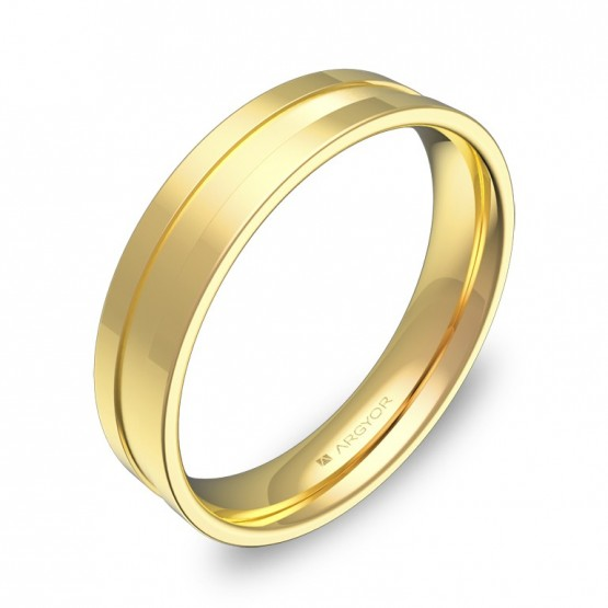 Alianza de boda plana con ranuras 4,5mm en oro combinado C2445C00A