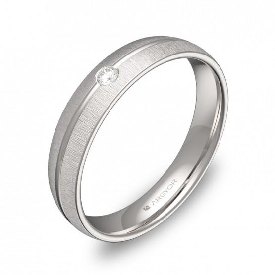 Alianza de boda media caña con ranuras oro blanco y diamante C2140T1BB