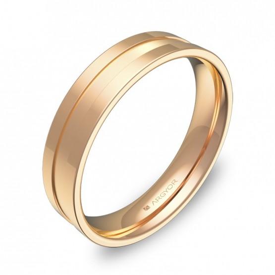 Alianza de boda con ranuras 4,5mm en oro rosa combinado C2445C00R
