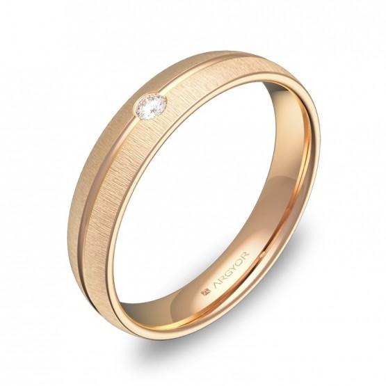Alianza de boda oro rosa media caña con ranuras 1 diamante C2140T1BR