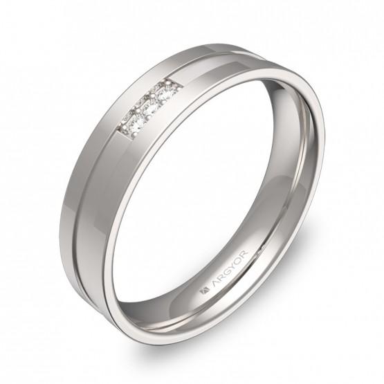 Alianza de boda plana con ranuras oro blanco 3 diamantes C2445C3BB