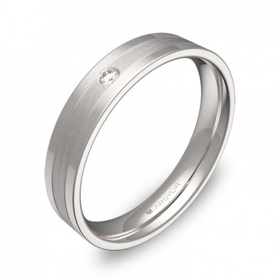 Alianza de boda con ranuras en oro blanco con diamante C2540C1BB
