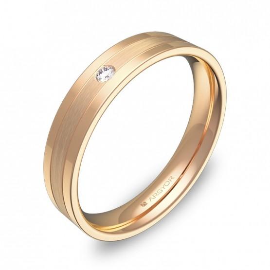 Alianza de boda con ranuras en oro rosa combinado 1 diamante C2540C1BR