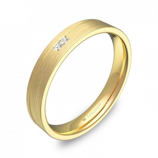 Alianza de boda 3,5mm oro amarillo satinado 2 diamantes C2735S2PA