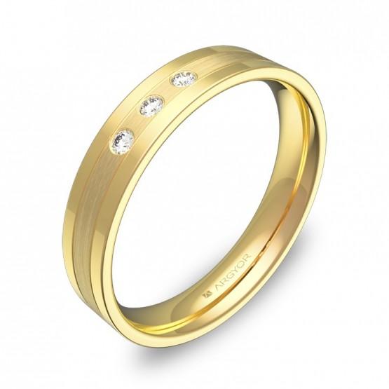 Alianza de boda en oro amarillo combinado 3 diamantes C2540C3BA