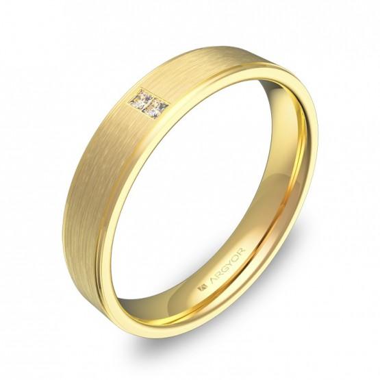 Alianza de boda  con biseles 4mm en oro amarillo 2 diamantes C2640C2PA