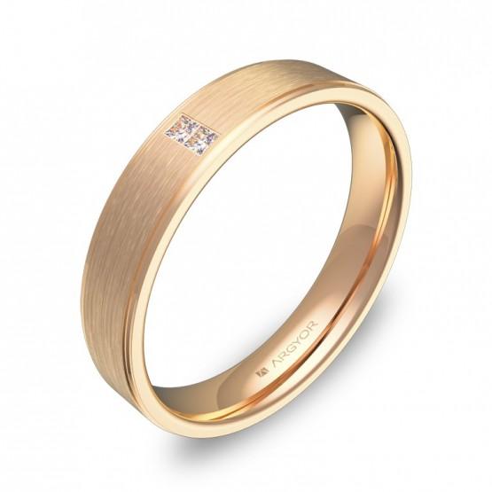Alianza de boda plana con ranuras en oro rosa con diamantes C2640C2PR
