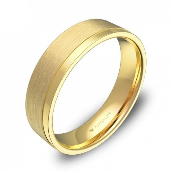 Alianza de boda plana con ranuras 5mm en oro amarillo C2850C00A
