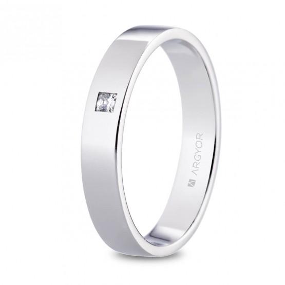 Alianza de platino plana y diamante princesa 4mm (05930140P)