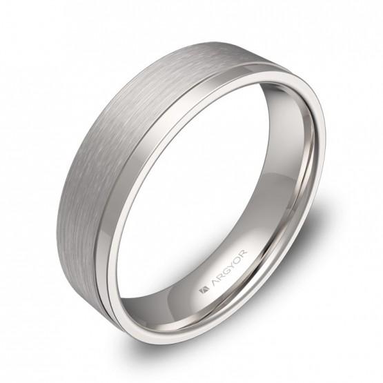 Alianza de boda con ranuras 5mm en oro blanco combinado C2850C00B