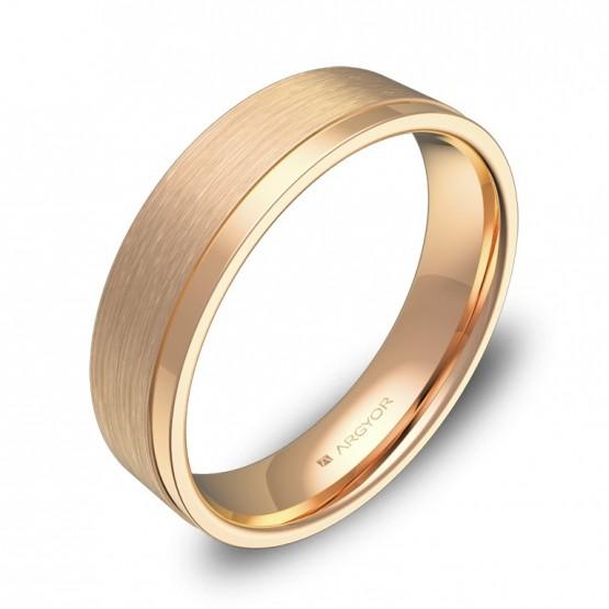 Alianza de boda plana con ranuras 5mm en oro rosa combinado C2850C00R