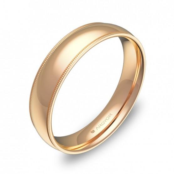 Alianza de boda de media caña con biseles 4,5mm en oro rosa C3145P00R