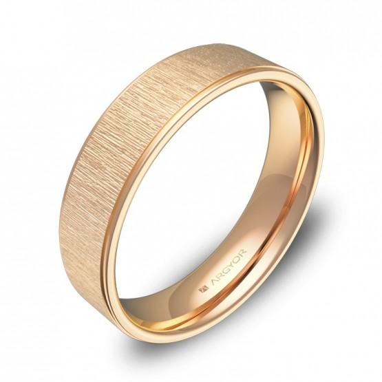 Alianza de boda plana con biseles 5mm en oro rosa combinado C2950C00R