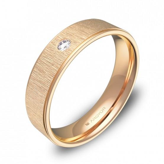 Alianza de boda con biseles 5mm en oro rosa con diamante C2950C1BR