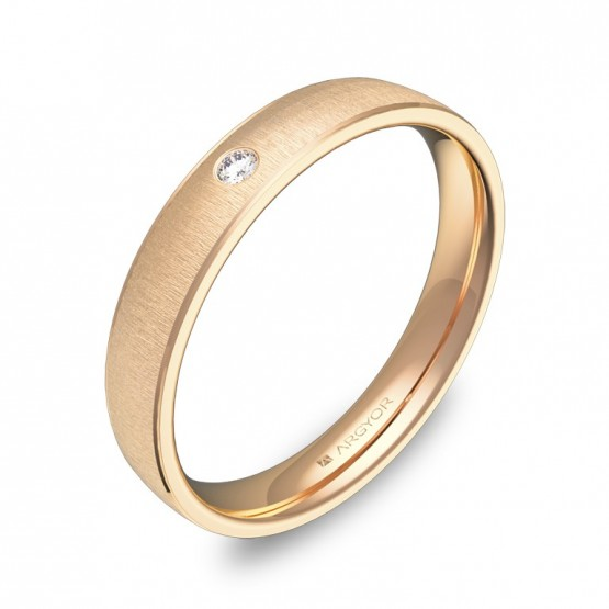 Alianza de boda oro rosa con biseles 3,5mm con diamante C3235T1BR