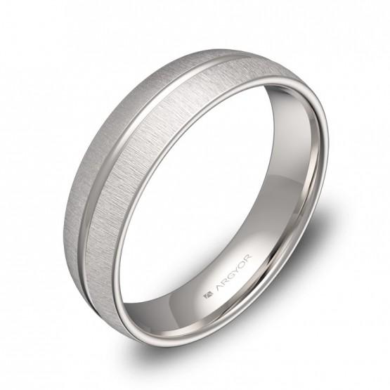 Alianza de boda con ranuras 5mm en oro blanco textura C3350T00B