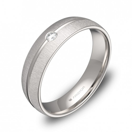 Alianza de boda 5mm en oro blanco texturizado con diamante C3350T1BB