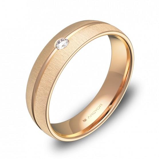 Alianza de boda 5mm en oro rosa texturizado 1 diamante C3350T1BR