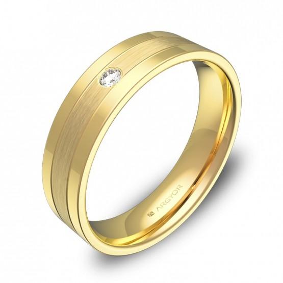 Alianza de boda con ranuras 5mm en oro amarillo con diamante C3450C1BA