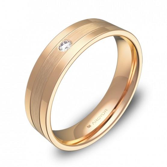 Alianza de boda plana con ranuras en oro rosa con diamante C3450C1BR