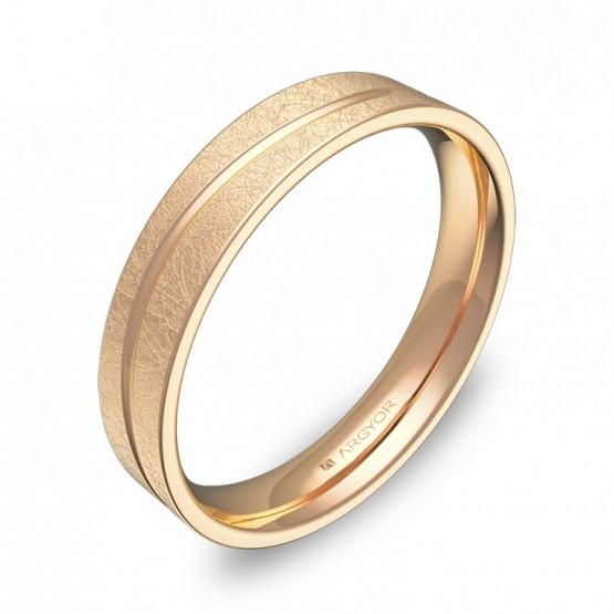 Alianza de boda plana con ranuras 4mm en oro rosa hielo C3640H00R