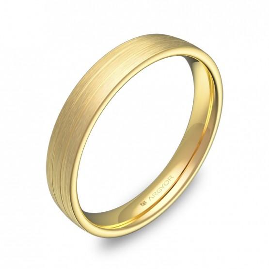 Alianza de boda de oro amarillo satinado con ranuras C3535S00A