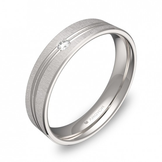 Alianza de boda con ranuras 4,5mm en oro blanco con diamante C3745T1BB