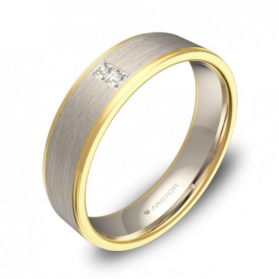 Alianza de boda 5mm con biseles en oro bicolor con diamantes D0150C2PA
