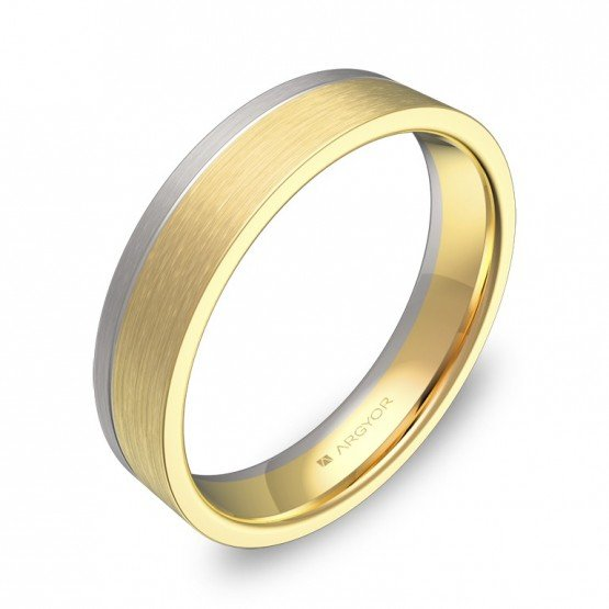 Alianza de boda plana con ranuras oro bicolor satinado D0245S00A