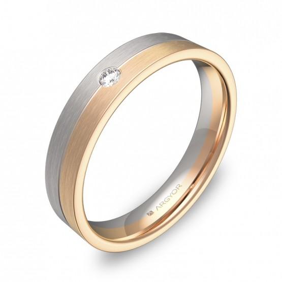 Alianza de boda bicolor en oro bicolor satinado con diamante D0340S1BR