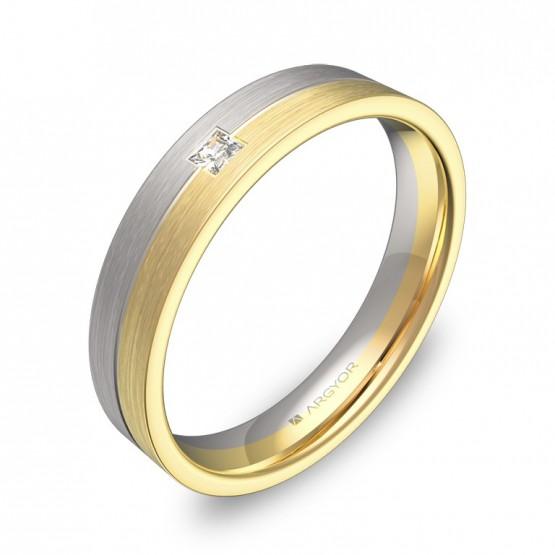 Alianza de boda plana con ranuras oro bicolor con diamante D0340S1PA
