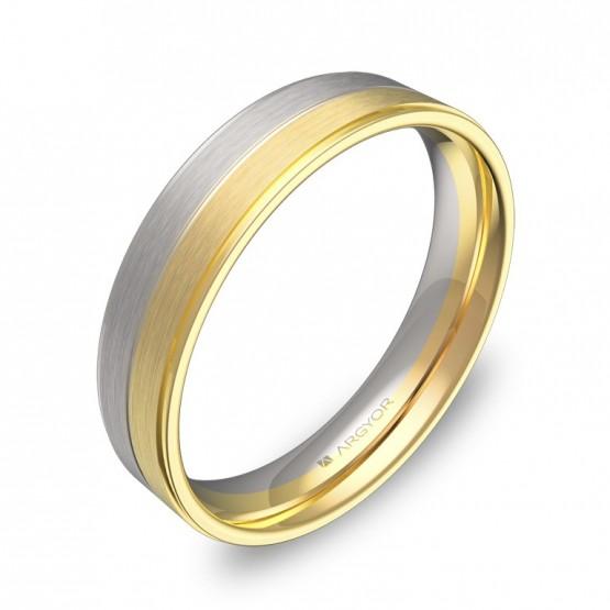 Alianza de boda con ranuras y biseles oro bicolor combinado D0545C00A