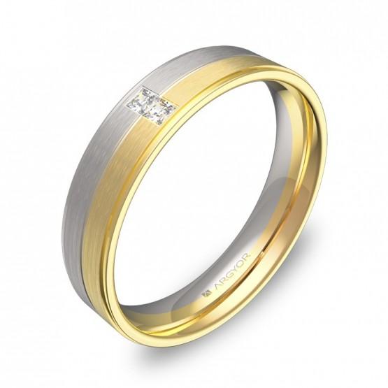 Alianza de boda con ranuras y biseles 2 diamantes D0545C2PA