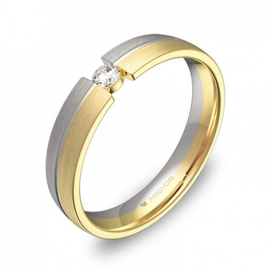 Alianza de boda 4mm en oro bicolor satinado con diamante D0440S1BA