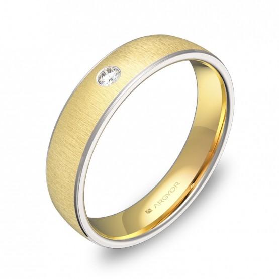 Alianza de boda de oro bicolor texturizado con diamante D0645T1BA