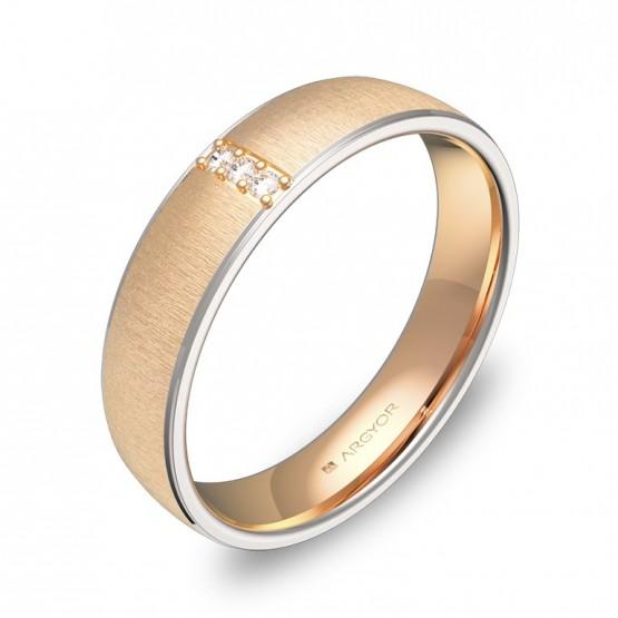 Alianza de boda 4,5mm en oro bicolor textura con diamantes D0645T3BR