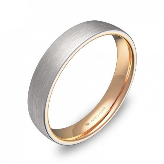 Alianza de boda de media caña 4mm en oro bicolor satinado D1040S00R