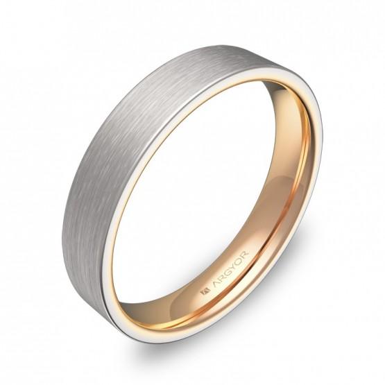 Alianza de boda plana 4mm en oro bicolor satinado D1140S00R