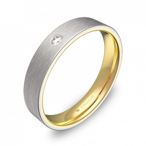 Alianza de boda plana 4mm en oro bicolor satinado y diamante D1140S1BA
