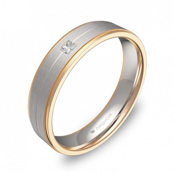 Alianza de boda bicolor plana con ranuras biseles y diamante D1245C1PR