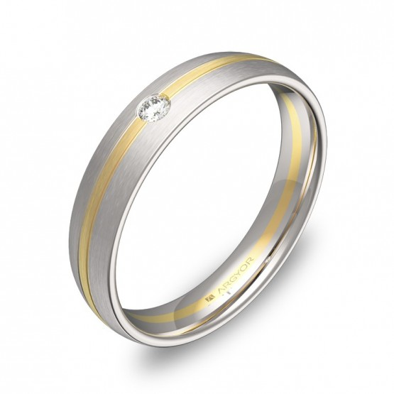 Alianza de boda con ranuras 4mm en oro bicolor con diamante D1340S1BA