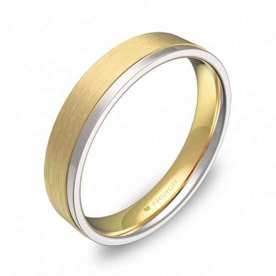 Alianza de boda plana con ranuras en oro bicolor combinado D1440C00A
