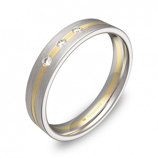 Alianza de boda 4mm en oro bicolor satinado con diamantes D1540S3BA