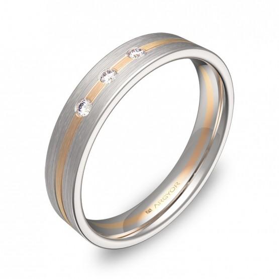 Alianza de boda 4mm en oro bicolor satinado con diamantes D1540S3BR
