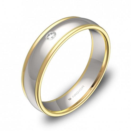 Alianza de boda media caña con biseles oro bicolor y diamanteD1650P1BA
