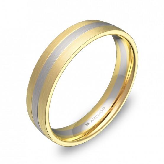 Alianza de boda con ranuras en oro bicolor satinado D1745S00A