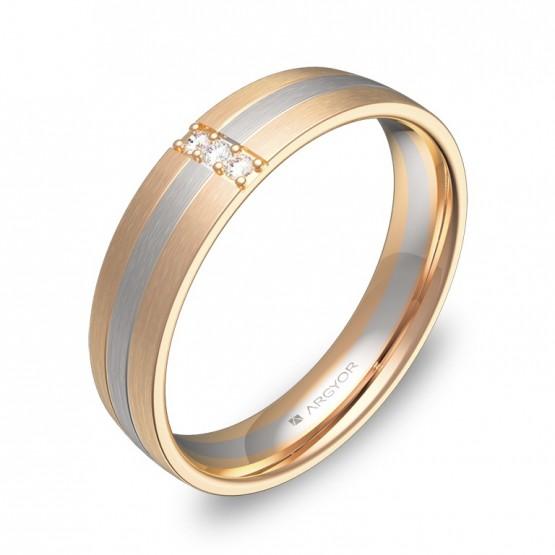 Alianza de boda con diamantes de media caña con ranuras D1745S3BR