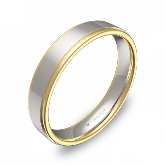 Alianza de boda plana con biseles 4mm en oro bicolor pulido D1940P00A